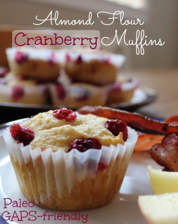 Almond Flour Cranberry Muffins - GAPS and Paleo, from Health, Home & Happiness
