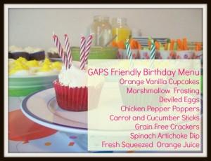 GAPS Birthday Party menu