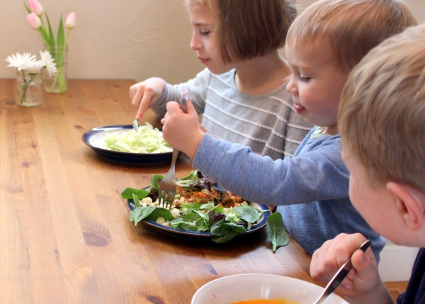 kids eating salad and soups