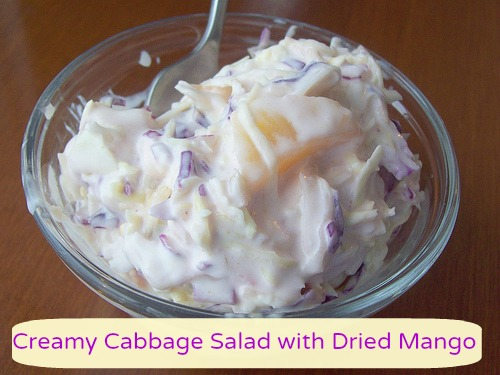 creamy cabbage salad with dried mango