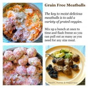 grain free meatballs with veggies