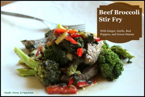 Beef broccoli stir fry with ginger, garlic, and red peppers