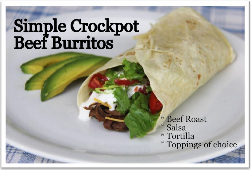 Easy crockpot beef burritos