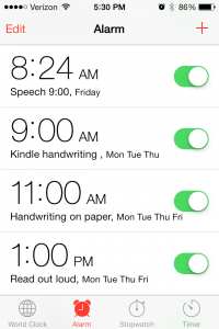 Schedule Iphone alarms- use different sounds for a smooth transition