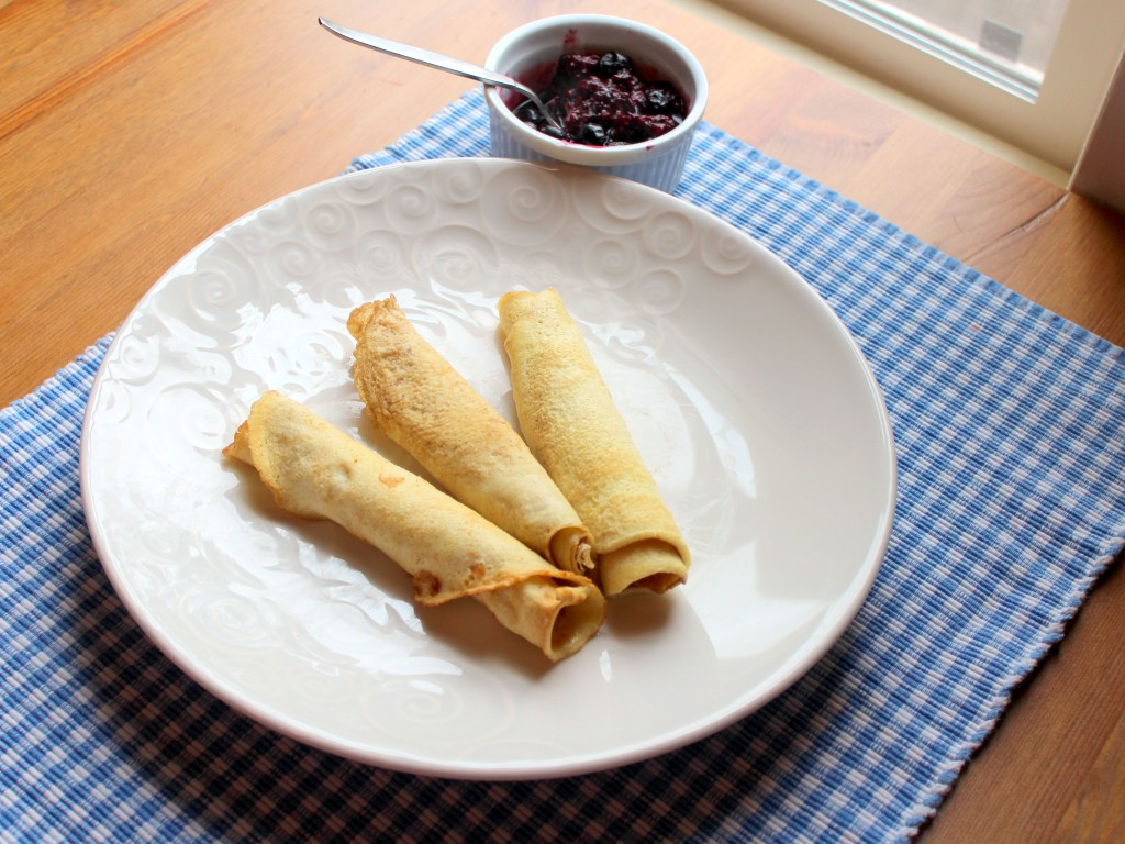 coconut flour crepes with berry sauce