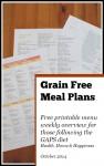 Grain Free Meal Plan - one week printable - oct seasonal menu