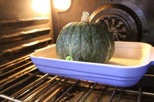 Whole kabocha squash baked in the oven