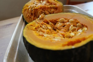 Kabocha squash after baking