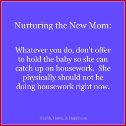 Tips on resting and helping with the new mom