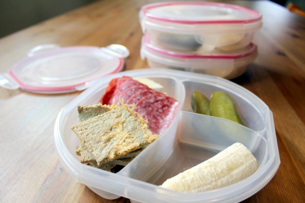 Easy packable lunches incorporate something fresh as well as leftovers from dinner to save cooking