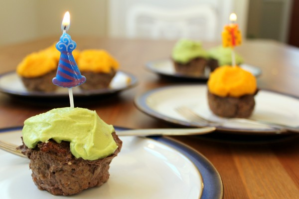 GAPS Intro cupcakes guac or squash frosting - fun colors