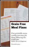 Grain Free Meal Plan - one week printable - November seasonal menu