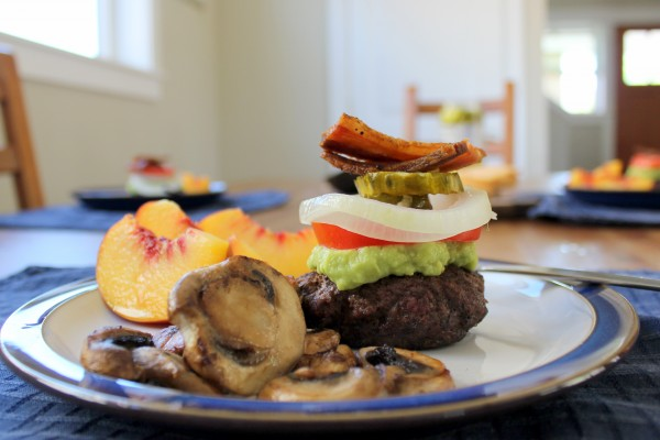 Guacamole, mushrooms, fresh tomato, and bacon - who misses the bun? Not me!