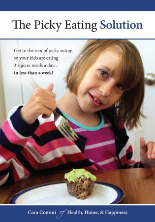 Image for The Picky Eating Solution: A 10-year-old girl with sensory issues enjoying meat and avocado. She's smiling and wearing a pink sweater.