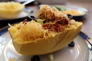 spaghetti squash chicken enchilada bowls