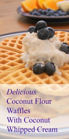 coconut flour waffles with coconut whipped cream