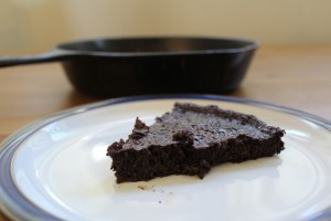 Fudgy Flourless Skillet Chocolate Cake