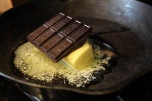 Melting chocolate for chocolate skillet cake