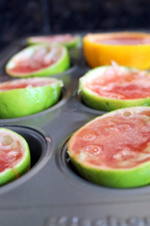 Filled lime rinds jello shots