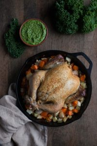 roasted-chicken-kale-pesto-skillet