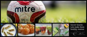 Healthy Snacks for Soccer Games peeled oranges, fresh fruit in clear cups, packaged apple sauce and water