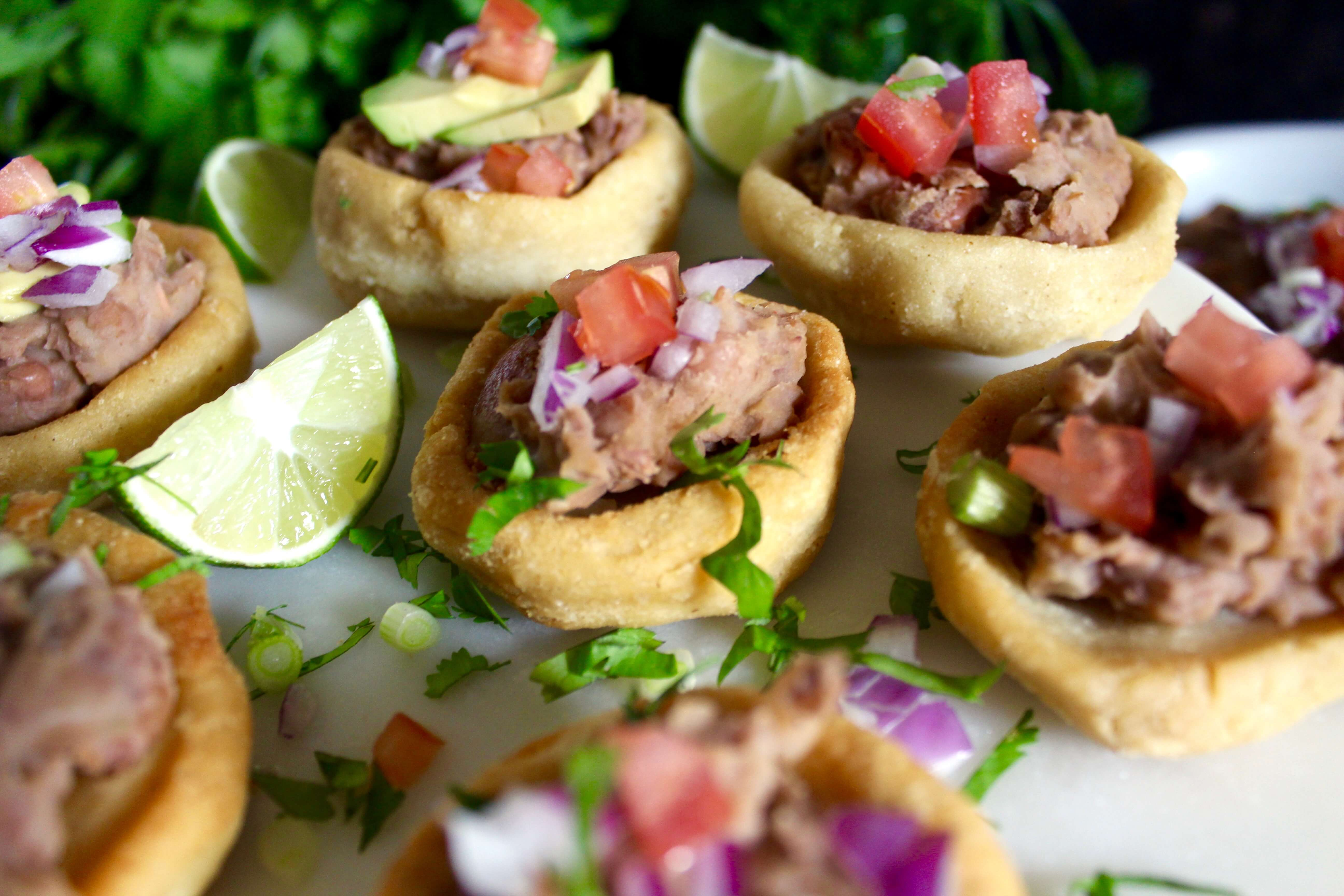 Gluten-Free Mexican Sopes (delicious fried corn cakes with toppings)