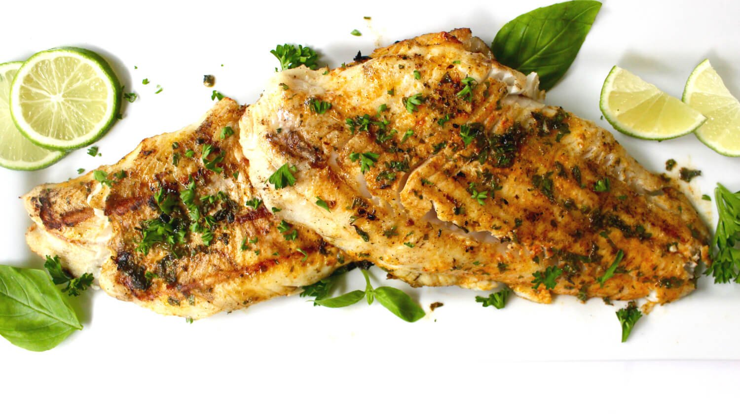 Montana Walleye, grilled with herbs and lime
