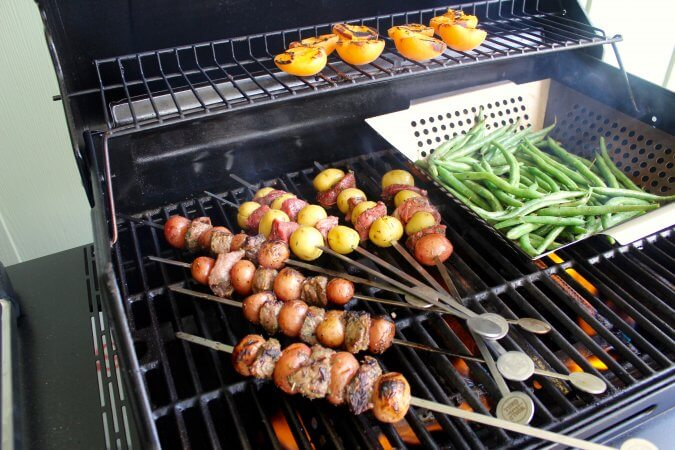 Grilled Meat and Potato Skewers