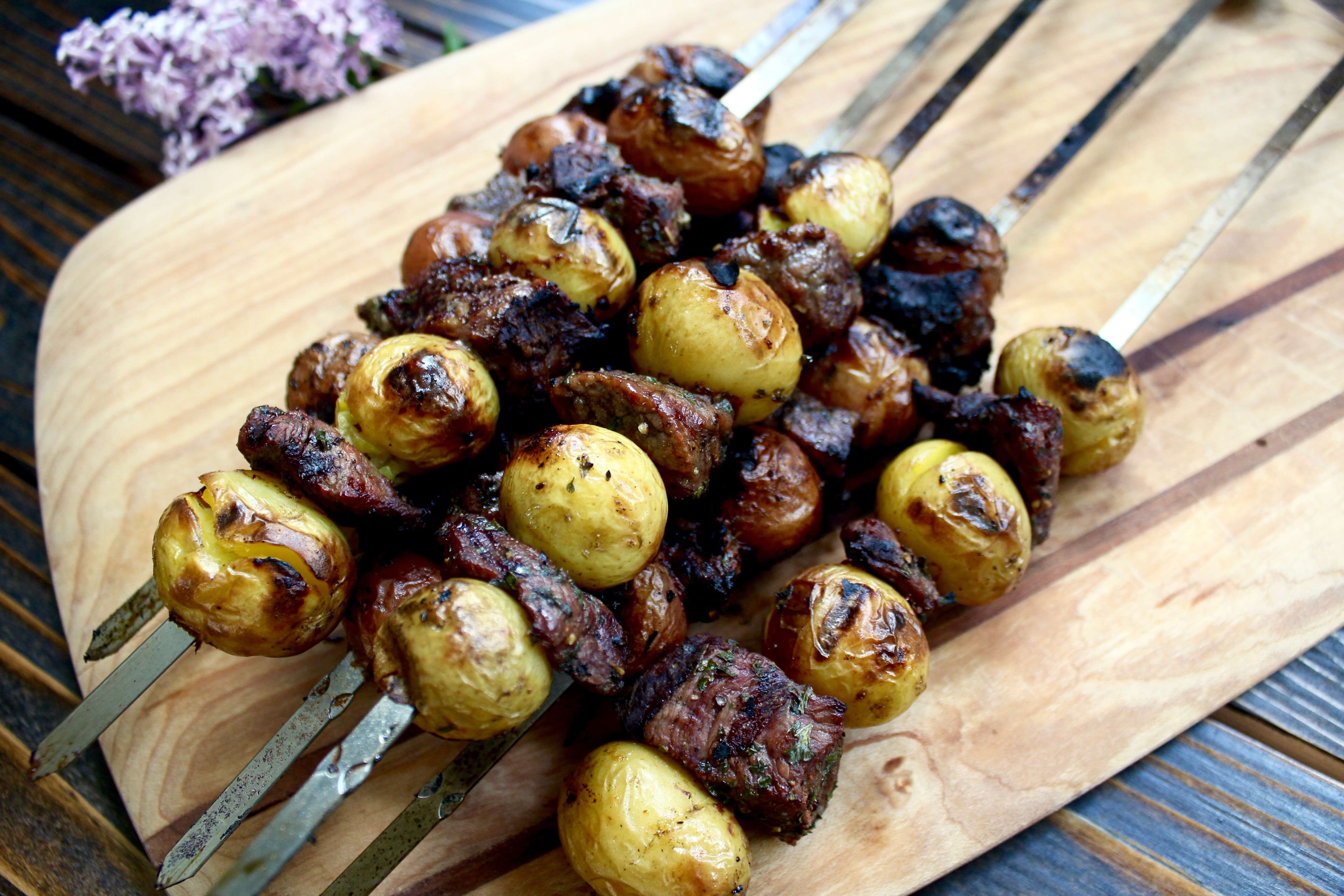 Hearty Grilled Steak and Potato Skewers