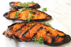 Quick Grilled Sweet Potatoes (great freezer-to-grill side)