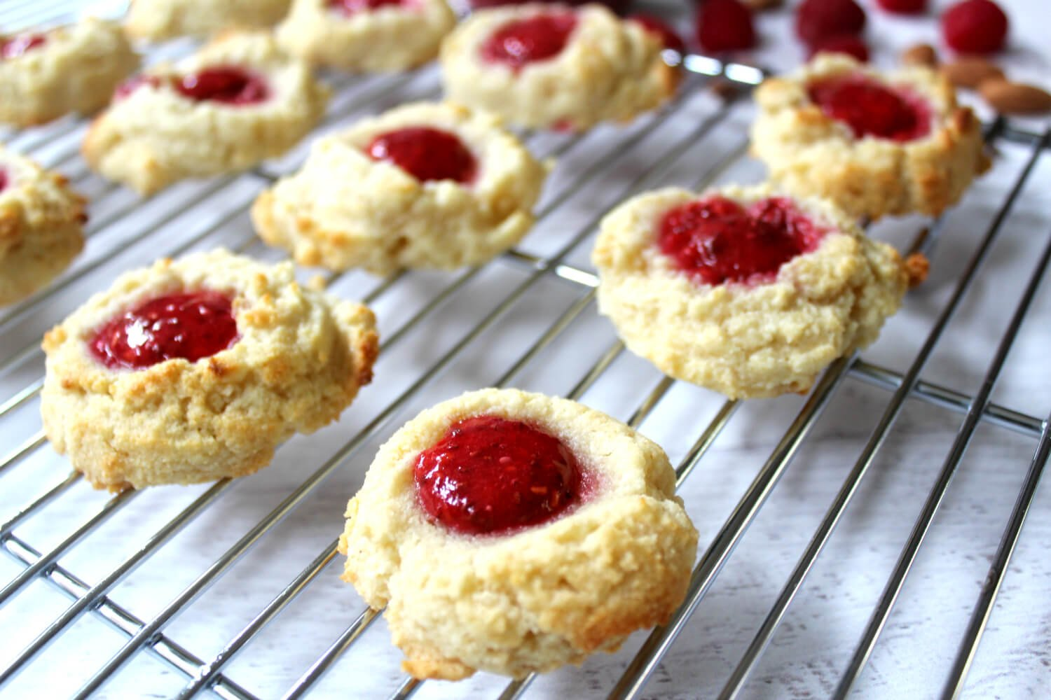 Almond flour raspberry thumbprint cookies