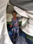 Toddler in tent