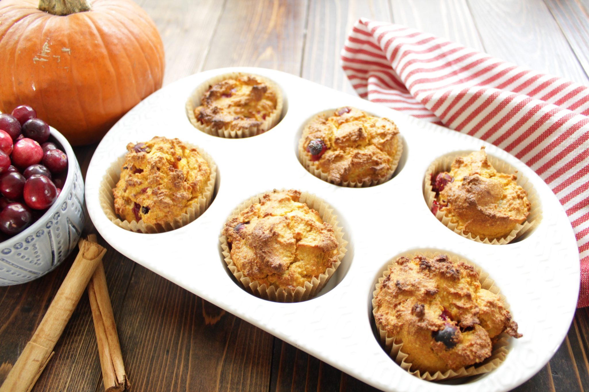 Low Carb Pumpkin Cranberry Muffins with Almond Flour