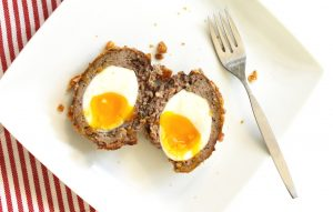 Scotch Eggs covered in pork rinds instead of bread crumbs make them zero carb and gluten free
